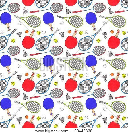 Racquets, balls and shuttlecocks. Seamless watercolor pattern with sport equipment. Hand-drawn origi