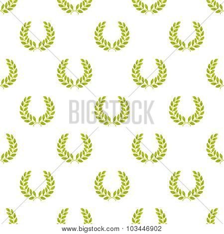 Laurel wreath. Seamless pattern with hand-drawn laureate wreath on the white background.