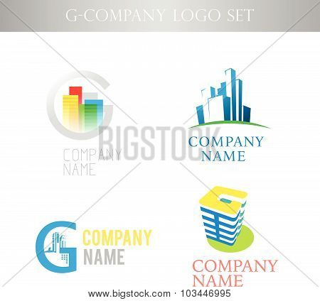 Vector stylish logo collection for urban building office company isolated on white background. Busin