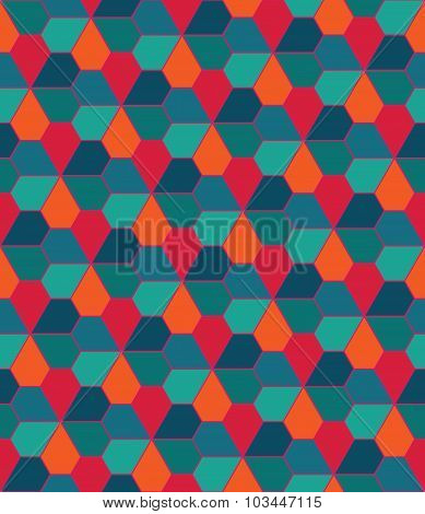 Vector Modern Seamless Colorful Geometry Pattern, Flowers Pentagon