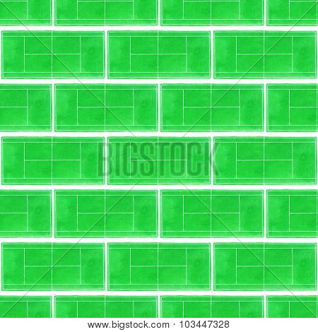 Tennis court. Seamless pattern with hand-drawn grass surface tennis courts on the white background.