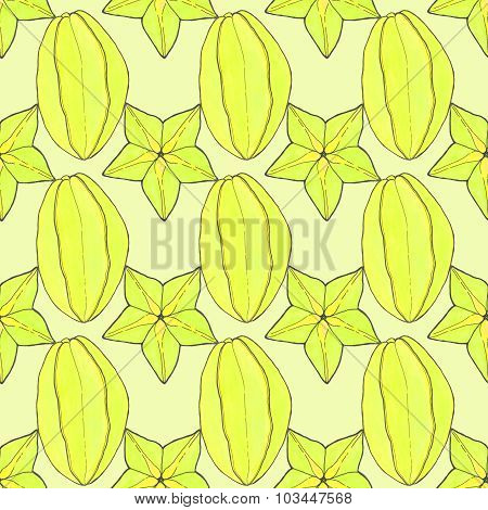 Starfruit or carambola. Seamless pattern with fruits. Hand-drawn background.