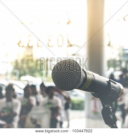 Microphone In Seminar Event , Vintage Style