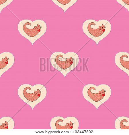 Cute Cat In Heart Seamless Pattern