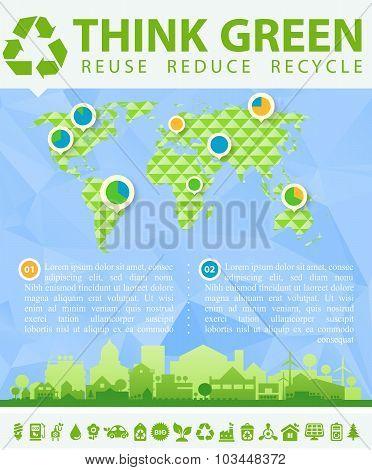 Think Green Vector illustration with small town and infographics