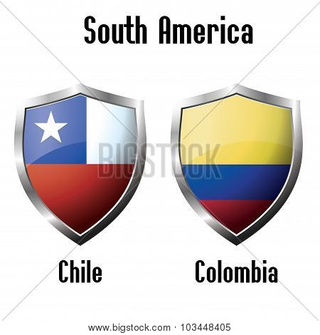 Chile And Colombia Flag Icons Theme