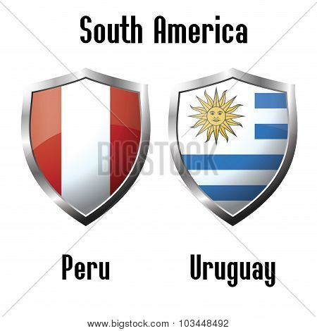 Peru And Uruguay  Flag Icons Theme