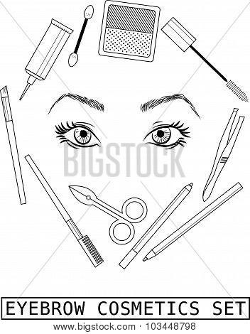 Eyebrow make up set on white background. Vector instruction.