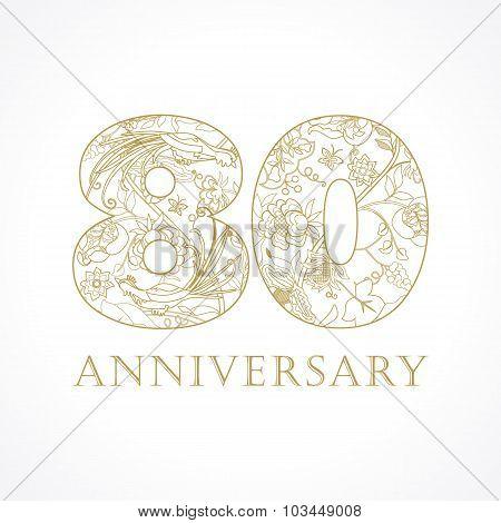 80 anniversary vintage numbers