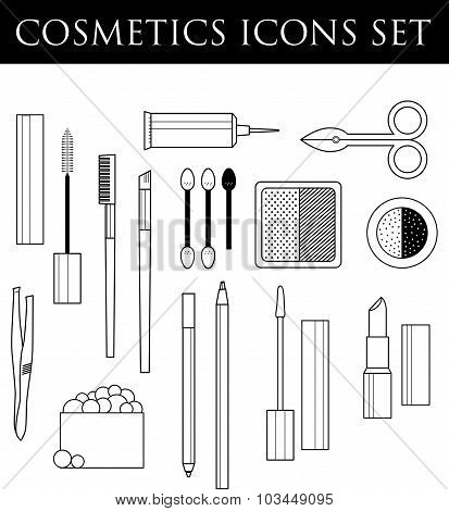 Vector cosmetics icons set. Eyebrow cosmetics and make up. Vector make up illustration.