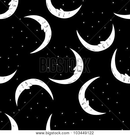 Seamless pattern moon and stars