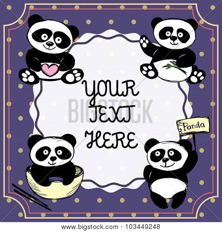 Vintage Postcard, Banner Or Background With Cute Pandas And Plac