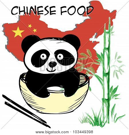 Little  Cute Panda , Bamboo, Chinese Flag And Map, Chinese Food, Hand Drawing