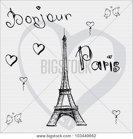 Vector Hand Drawn Illustration With Eiffel Tower. Bonjour Paris