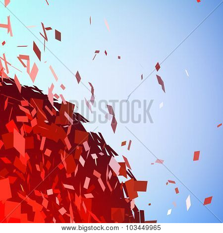 Abstract background with broken surface explosion