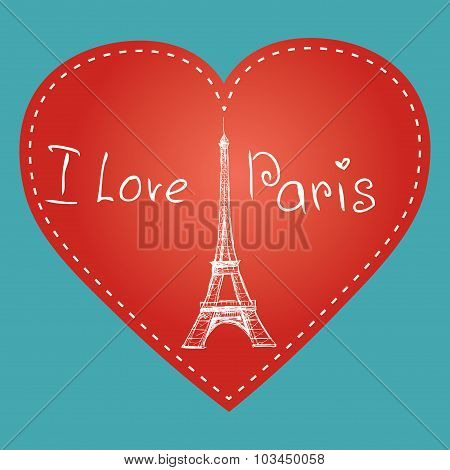 Vector Hand Drawn Illustration With Paris Symbol. Eiffel Tower.