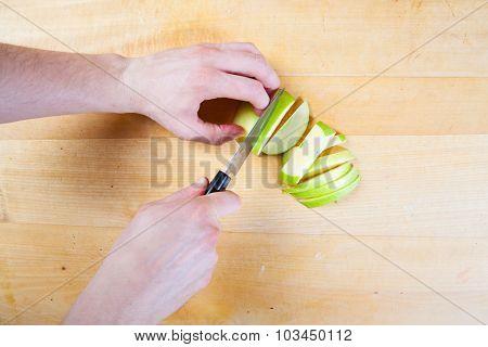 Chef Prepare Apple In The Kitchen