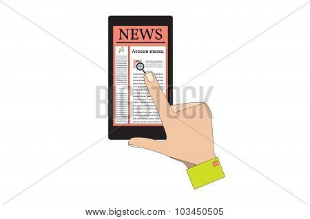 Black Smart Phone with News. Vector Illustration.