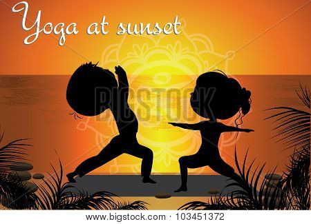 Silhouette Couple Man And Woman Doing Yoga On The Beach At Sunse