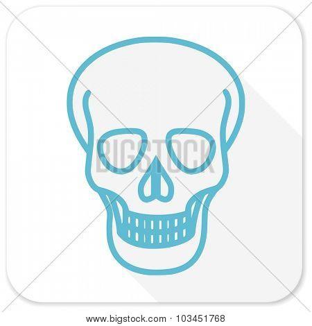 skull blue flat icon