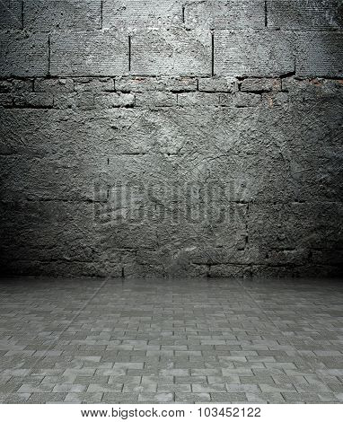 3D Wall With Brick Texture, Empty Interior
