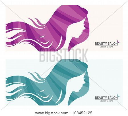 Banner Or Business Card Stylized Woman Profile For Beauty Salon