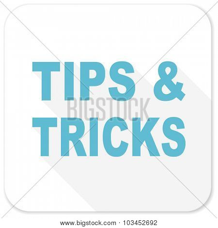 tips tricks blue flat icon