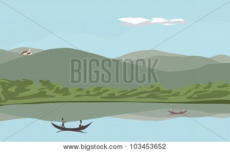 lake at low montains landscape