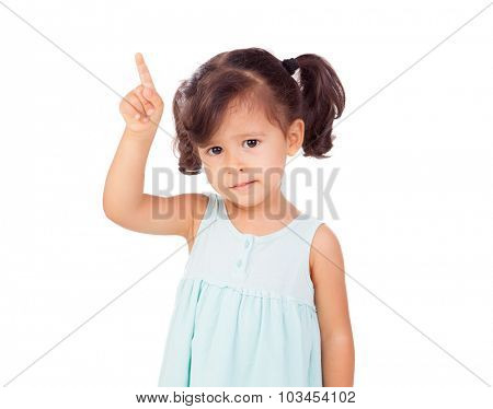 Little girl asking for speak isolated on a white background
