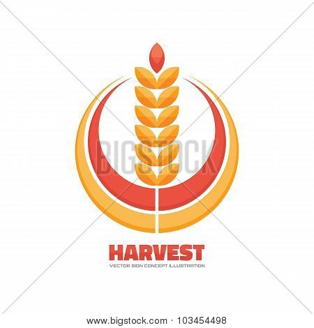 Harvest - vector logo concept illustration in flat style design. Ear of wheat and rings.