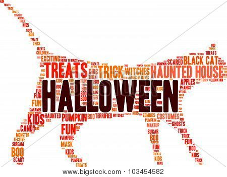 Halloween Cat Shaped Word Cloud