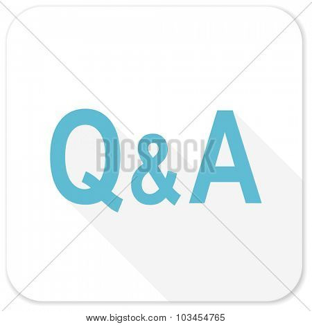 question answer blue flat icon