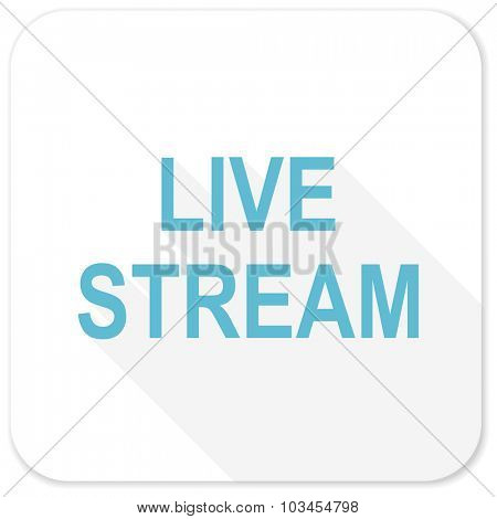 live stream blue flat icon