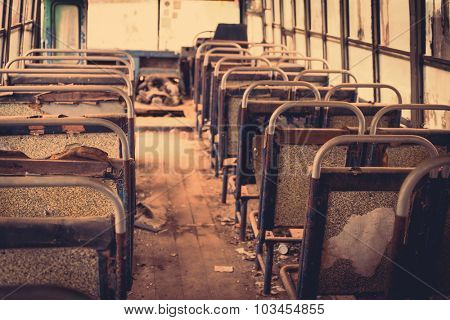 Old bus interior ( Filtered image processed vintage effect. )