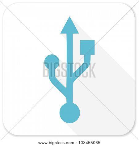 usb blue flat icon