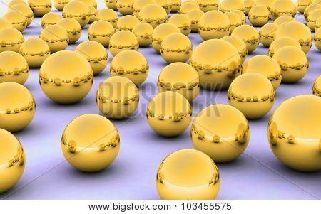 3D Ball Gold Metal Reflection