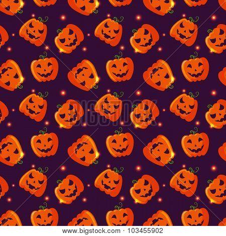 Halloween Seamless Pattern With Pumpkins.