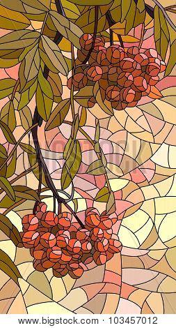 Vector Illustration Mosaic Of Red Rowan.