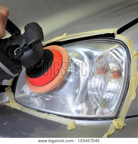 Car Light Repairing, Hand With Tool Polish Headlight