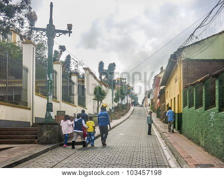 Street Of Historic Center Of Bogota Colombia