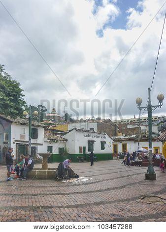Small Square At Historic Center Of Bogota Colombia