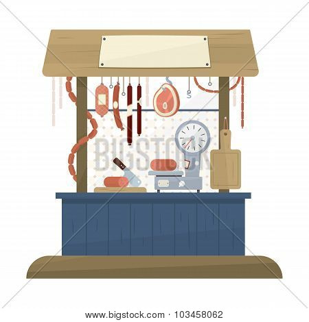 Butchers Shop Flat Design Icon