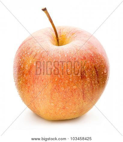 Ripe apple on a white background.