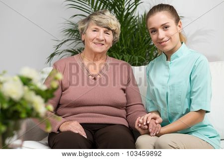 Nurse Caring About Elder Woman