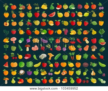 fruit and vegetables vector logo design template. farm or harvest icons
