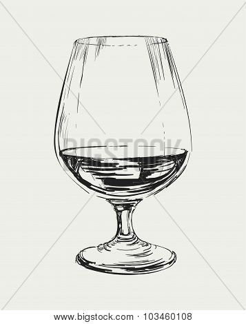 Glass of brandy vector drawing illustration