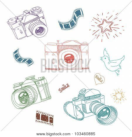 Vector illustration of camera and photography elements hand drawn