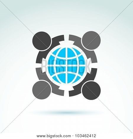 Vector conceptual society symbol, earth protection icon, friendship. People embracing earth.