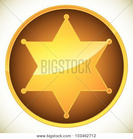 Classic Western Sheriff Badge, Sheriff Star. Vector Illustration.
