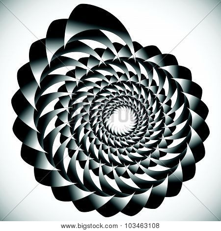 Abstract Spinning, Twirling Graphics With Rotating Shapes. Spiraling, Swirling Element.